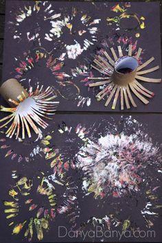Fireworks paintings using DIY toilet paper roll stampers
