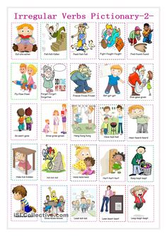 irregular verbs pictionary 2 - English ESL Worksheets for distance learning and physical classrooms English Verbs, English Sentences, English Grammar, Education English, Teaching English, English Lessons, Learn English, Verbal Tenses, Irregular Past Tense Verbs