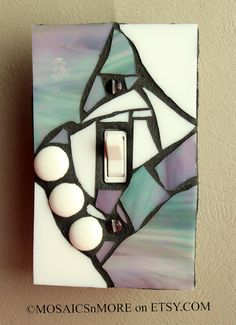 Gray Iridescent and White   HANDMADE Single Mosaic by MOSAICSnMORE