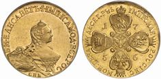 AV 10 Roubles. Russian Coins. Elizabeth I. 1741-1761. 1756 SPB-BS. 16,61g. Fr 122. Bit 75. R! About uncirculated. Price realized 2011: 35.000 USD.