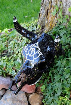 Glass mosaic cow skull by artistprovocateur on Etsy, $750.00