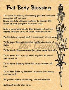 Body Blessing, Book of Shadows Spell Page, Wicca, Witchcraft, Real Spell