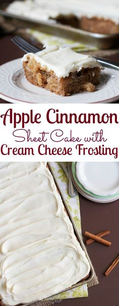Apple Cinnamon Sheet Cake with Cream Cheese Frosting (Apple Recipes Dessert) Apple Desserts, Köstliche Desserts, Apple Recipes, Baking Recipes, Sweet Recipes, Fall Recipes, Delicious Desserts, Dessert Recipes, Yummy Food