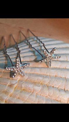 Starfish hair clips beach wedding pair of 2 by seashorebrides