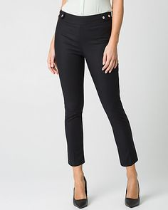 Cotton Skinny Leg Crop Pant - The sleek double weave crop pants offer clean styling and a flattering fit.