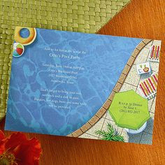 Pool Party - Invitation - Shimmer from Carlson Craft - Item Number: EA51B7Z - This bright white invitation has a swimming pool inspired theme along with all of the summer essentials. #CarlsonCraft #poolparty