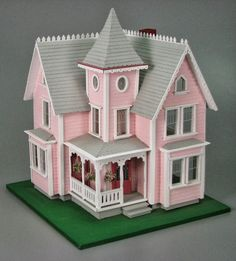 Two-Story Pink Victorian Dollhouse Victorian Cottage, Victorian Dolls, Victorian Dollhouse, Mini Doll House, Barbie Doll House, Dollhouse Toys, Dollhouse Miniatures, Putz Houses, Doll Houses