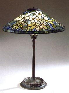 A Tiffany Favrile Glass and Bronze Clematis Lamp Stained Glass Lamp Shades, Stained Glass Art, Fused Glass, Chandelier Design, Chandeliers, Tiffany Lamps, Clematis, Bubble, Glass Photo
