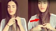 Elle se tresse les cheveux sous le menton… et ensuite? Quelle astuce SIMPLE pour un si beau résultat !