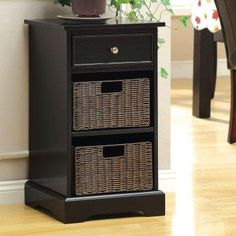 A handsome black finish and perfect size make the Furniture of America Dexter Multi-Storage Cabinet - Black perfect in your hall or entryway. This cabinet. Drawer Storage Unit, Drawer Shelves, Basket Shelves, Table Storage, Cabinet Drawers, Storage Baskets, Living Room End Tables, Geometric Heart, Transitional House