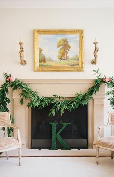 Floral Fireplace Garland.  Photography: Kate Osborne Photography - kateosbornephotography.com  Read More: http://www.stylemepretty.com/living/2013/12/27/an-elegant-baby-shower/