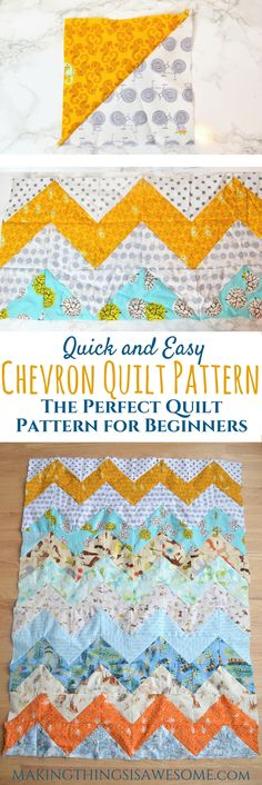 Chevron Quilt Pattern - the perfect quilt for beginners - makingthingsisawesome.com #chevronquiltpattern #freequiltpatterns #babyquiltpattern #quilting #quiltinforbeginners