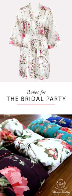 Your bridesmaids will love these customizable floral bridal party robes. And you& love the adorable getting ready pictures. Available in a variety of styles and colors to match your wedding. Shop now at Heritage Wedding! Bridal Party Robes, Gifts For Wedding Party, Wedding Wishes, Bridal Shower Favors, Party Gifts, Wedding Bells, Wedding 2017, Wedding Order, Our Wedding