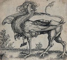 Schongauer Engraving Signed, The Griffin, c. 16th century