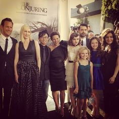 ‪#‎TheConjuring‬ family at tonight's black carpet premiere. — with Patrick Wilson, Vera Farmiga, James Wan, Lili Taylor, Joey King, Ron Livingston, Kyla Deaver, Mackenzie Foy and Hayley McFarland.