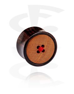 Double Flared Plug with Button Design (Wood) Crazy Factory Piercing Online Shop