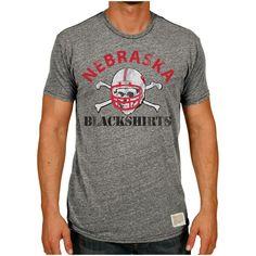 Nebraska Cornhuskers Original Retro Brand Vintage Blackshirts Tri-Blend T-Shirt - Heather Gray