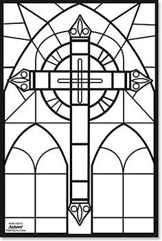 cross color your own stained glass fuzzy poster autom