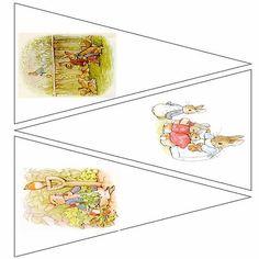 Peter Rabbit imprimable banderoles pages modèle 5, 15 images, digital download Beatrix Potter