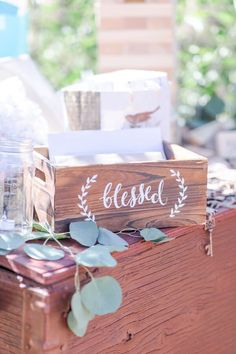 Rustic Wood Wedding Card Box with Blessed quote