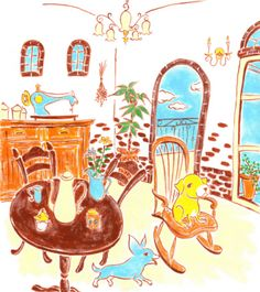 Royalty-free Illustration: Two dogs in dining room