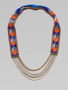 Fiona Paxton Beaded Leather and Chain Necklace