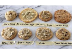 The Ultimate Guide to Chocolate Chip Cookies. What questions do you have about chocolate chip cookies? Do you prefer soft or crisp, chewy or cakey, thin or thick cookies? Baking Soda Baking Powder, Delicious Desserts, Yummy Food, Tasty, Yummy Eats, Perfect Chocolate Chip Cookies, Think Food, Perfect Cookie, Perfect Food