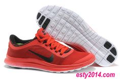 2014 Nike Free Run 3.0 V6 Flyknit Carbon Black China Red Running Shoes Summer 2014