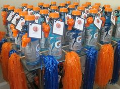 Cute for a kids bday-Basketball Party Favors: sports drink, whistle, pom-poms, and basketball cards