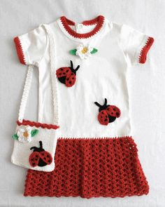 Ladybug T-Shirt Dress and Purse Crochet Pattern