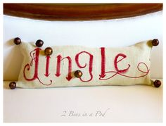 Pottery Barn knockoff inspired Jingle pillow. Hand painted and bells added to burlap. Perfect for Christmas decor or as a gift.