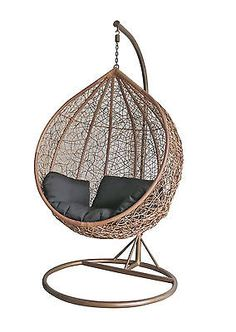 Rattan brown swing chair pod #outdoor garden hanging #wicker #weave hammock a353 ,  View more on the LINK: http://www.zeppy.io/product/gb/2/381488401647/