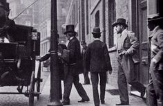 """Sir Henry Irving (top hat) and Bram Stoker take a cab from the private Burleigh Street entrance of the Lyceum Theatre, which was reserved for the use of the """"Unholy Trinity"""" of Irving, Stoker and H.J. Loveday, the Lyceum's stage manager."""