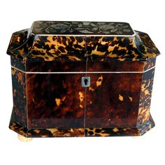 Early English Victorian Tortoiseshell Sarcophagus-Form Tea Caddy | From a unique collection of antique and modern boxes at http://www.1stdibs.com/furniture/more-furniture-collectibles/boxes/