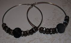 Black Mesh Beads and Crystals Adorn these by opalsandowls on Etsy, $18.00