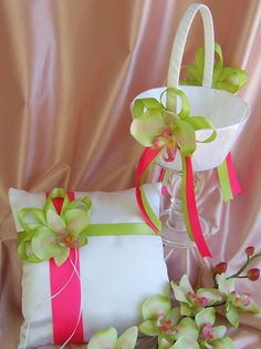 Fuchsia Pink and Green wedding Flower Girl Basket by All4Brides, $60.00