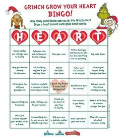 Engaging Lessons And Activities: Grinch Christmas Grow your heart bingo Game FREE! School Christmas Party, Grinch Christmas Party, Christmas Holidays, Family Christmas, Winter Holidays, Christmas Stockings, Merry Christmas, Grinch Party, Grinch Christmas Decorations