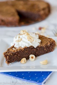 Chocolate Hazelnut Pie - A rich and chocolate pie that is made with lots of Hazelnuts. Naturally gluten free, rich, chocolately, and oh so delicious!