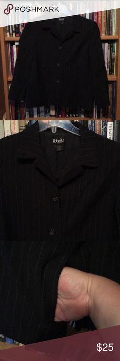 I just added this listing on Poshmark: Black pinstriped blazer. Hidden pockets. 14. #shopmycloset #poshmark #fashion #shopping #style #forsale #Rafaella #Jackets & Blazers