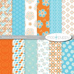 BUY 2 GET 1 FREE: Wallace Teal&Orange - Digital Scrapbook Paper Pack