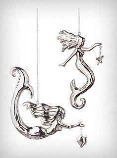 Silver Sea Siren Mermaid Ornaments - Set of 2
