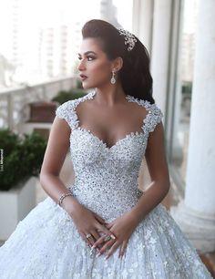 Árabe Vestido De baile Lace Vestido De Noiva 2016 elegante Cap mangas Beading flor De cristal Vestido De casamento Vestido De Noiva De Renda BW01 em Vestidos de noiva de Casamentos e Eventos no AliExpress.com | Alibaba Group