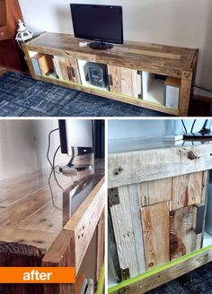 A reclaimed wood transformation of a plain white IKEA EXPEDIT