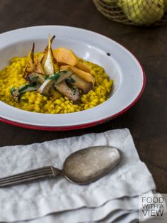 Autumnal Pearl Barley Risotto with Pumpkin, King Oyster Mushrooms, Turnips, and Quince