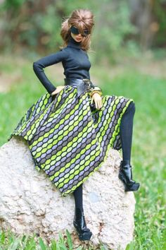 fashion royalty,fr2,CI dollsalive Green my Black OOAK outfit, leather shoes ,bag