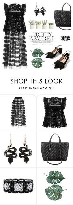 """Black lace"" by pensivepeacock ❤ liked on Polyvore featuring Vilshenko, Zimmermann, John Hardy, Chanel, De Beers and Allstate Floral"