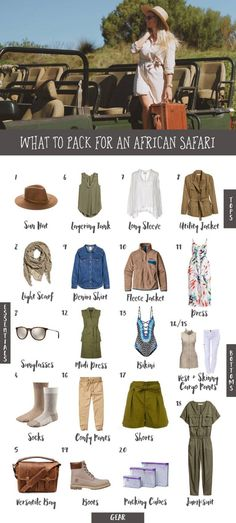 After my trip to Kenya and Namibia, I put together my top tips for what to pack for an African safari! A cute safari style means comfortable layers that will keep you warm. Here's my ultimate safari packing list, plus what to expect on an African safari! Safari Chic, Moda Safari, Jungle Safari, Safari Outfits, Safari Outfit Women, Safari Clothes, Safari Elegante, Travel Outfit Summer Airport, Africa Safari Lodge