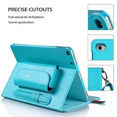 iPad Pro Case, FYY Luxurious Genuine Leather Case All-Powerful Cover for iPad Pro 12.9 (2015) Cyan (with exquisite stylus for free)