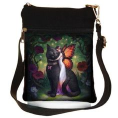 Nemesis Now Cat and Fairy James Ryman Shoulder Bag Black, PU and. Orange And Black Butterfly, Witch Cat, Unicorn Cat, Butterfly Wings, School Bags, Drawstring Backpack, Diaper Bag, Black Leather, Fairy