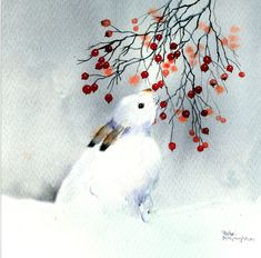 Beautiful artwork made in traditional watercolour technique by Rachel Mcnaughton. You can find more from her on Advocate Art's website. #watercolour #rabbit #winter #snow